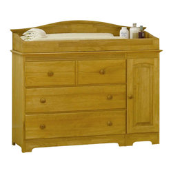 Atlantic Furniture - Atlantic Furniture Windsor 3 Drawer Changing Table in Natural Maple - Atlantic Furniture - Baby Changing Tables - 69145MOpt - The Windsor Changing Table is space saving innovation. Changing table features three drawers and two cabinets that are great for extra storage of blankets sheets or towels. It could also become a dresser for a smaller nursery saving you some space. A large changing area on the tabletop fits a standard changing pad. The Windsor Changing Table is made of Eco-friendly Hardwood and shipped fully assembled one less piece of furniture to try to figure out for your expected precious one's room. It is available in three of our durable high build finishes and is certified non-toxic.
