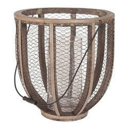 Lazy Susan - Lazy Susan 594028 Barrel Wire Atlas Hurricane Vase - Commitment phobes rejoice, it's your lucky day. Use this hurricane vase as either a candle holder or vase, depending on your mood. Hang it, carry it or place it on a table, either way, it's lovely and comes with a variety of commitment-free options.