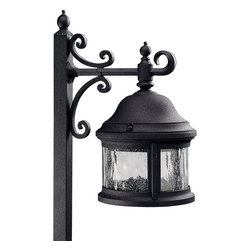 Progress Lighting - Progress Lighting Ashmore Traditional Garden Lantern X-13-0525P - This amazing Progress Lighting Ashmore traditional garden lantern is inspired by lanterns from the Old World. It's a one-light, cast aluminum path light  in a sleek, black finish with a wedge base that's combined with water-seeded glass. Decorate with this beautiful, eye-catching fixture to light up your outdoor space in style.