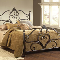 Hillsdale - Newton Antique Brown Bed Set - Metal scrolls form hearts topped with ornate fleur-de-lis in the headboard and footboard of the Newton bed,an ideal centerpiece for your boudoir. The Victorian four-poster design comes in a set complete with rails and assembly hardware.