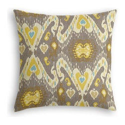 Gray, Yellow & Aqua Ikat Custom Euro Sham - The secret to those perfectly made beds you eye in magazines? Euro shams. Complete your bed set with a set of Simple Euro Shams for a look that's as stylish as it is snuggly.  We love it in this colorful eclectic ikat cotton print in lilac with touches of mint, orange, and beige.