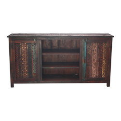 Habitat Home & Garden - Block Print Open Sideboard - The Block Print Open Sideboard is a solid-wood sideboard with a unique, multi-colored finish. Two front doors feature carved block print panels, and shelving in the center provides extra storage. This unique piece will be a statement in many styles of homes.