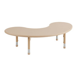 """Ecr4kids - Ecr4Kids Preschool Playroom 65"""" Kidney Resin Table Sand - Tabletop made of fade-resistant Polyethylene that will not crack, chip or peel. Features reinforced steel frame. Easy to clean and sanitize. Legs adjust in 1 increments from 13.25 to 22.25. Choose from one of our Soft Tone Colors."""