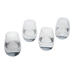 Riedel - Riedel Doozy Tumblers, Set of 4 - Stems are so yesterday. For casual sophistication at your table, choose this set of four lead-free crystal wine tumblers, each one with a distinctive design.