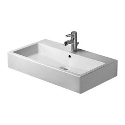 Duravit - Duravit   Vero Vessel Or Console Washbasin - Made in Germany by Duravit.A part of the Vero Collection. The Vero Vessel or Console Washbasin is a dramatic statement piece in any bathroom. Customize your sink's look by choosing from one, three or no faucet holes and pair it with a variety of different faucet options. A chrome metal console, chrome siphon with drain and built-in towel rail are available upon request. Product Features: