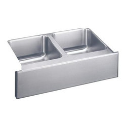 Elkay - Gourmet Lustertone Undermount Sink - Farmhous - Choose Sink Package: Sink OnlyManufacturer SKU: ELUHF3320. Material: Stainless SteelFaucet Holes: 0Thickness: 18 GaugeInstallation Type: Apron Front, UndermountCode Compliance: IAPMOSound Deadening: Sound Guard®Number of Bowls: 2Minimum Cabinet Size: 36 in.Sink Dimensions: 33 in. L x 20 1/2 in. WPrimary Bowl Depth: 7 7/8 in.Both Bowl Dim.: 13 1/2 in. x 16 in. x 7 7/8 in.Drain Size: 3 1/2 in.