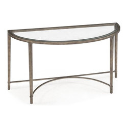 Magnussen Furniture - Copia Metal Demilune Sofa Table - Constructed of metal and glass. All pieces are KD for shipping. All pieces feature 5mm clear tempered glass with 1in. bevel. All pieces feature metal frame and levellers. Antique Silver Finish. 5mm clear tempered glass with bevel, metal tubing and levelers. Antique Silver Finish. 1 Year Limited Warranty. 50 in. W x 18 in. D x 29 in. H (32 lbs.)Refinement, by its very nature, distills that which is essential to its true and highest form. Our Copia collection embodies this ideal, with smooth lines, sublime shape, and impeccable beauty. In glistening antique silver and crystalline glass.