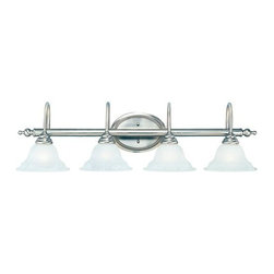 """Savoy House - Savoy House KP-SS-108-4 4 Light 37"""" Wide Bathroom Fixture from the Polar Collect - Four light bathroom fixtureFeaturing white faux alabaster glassRequires four 60w medium base lamps"""