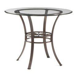 Holly & Martin - Holly & Martin Paisley Dining Table w/ Glass Top - Round in design, this transitional dining table creates the perfect blend of styles. The metal tube frame is powder coated with a dark brown texture with hints of bronze highlights. Each of the four legs curves up from the floor to meet the circular table base. At their narrowest point, the legs support a circular lower shelf that is perfect for plants or extra dinnerware. The clear beveled glass top extends past the base to create a floating edge making it stylish and easy to clean. Add this table to your dining room for a casual atmosphere that blends all of your contemporary and traditional decor.