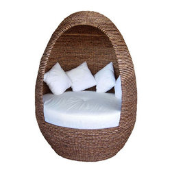 """Neoteric Igloo Modern Outdoor Wicker Lounge Chair - Talk about a comfy cocoon. This outdoor lounger has a great wicker surrounding that you can hide from the sun and people in. No one will disturb you as you read your book or """"rest your eyes""""."""