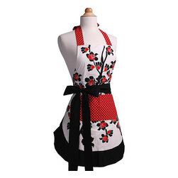 Flirty Aprons - Cherry Blossom Women's Original Flirty Apron - The Cherry Blossom apron was inspired by a the elegant Orient. This apron has a solid white lining and is double layered 100-percent cotton so it is both durable and comfortable. This apron has long thick ties that make it 'one size fits all'.