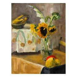 Sunflowers And Fruits, Original, Painting - Illuminate any room with this sunny painting of sunflowers and fruit. The warm yellows in Inna Lazarev's cheery piece would look lovely in your kitchen or dining room and give you just the burst of color you seek.