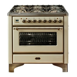 "Ilve - UM906VGGAS Majestic Series 36"" Freestanding Gas Range with 6 Sealed Burners  3.5 - Majestic Collection 36 Range with 6 Burners 35 Cu Ft Capacity European Convection Oven Dual Triple Ring Burner Infrared Broiler Digital Clock  Timer 2 Heavy Duty Racks Removable Oven Door and Rotisserie System with Plate Warming Drawer  Brass Trim"