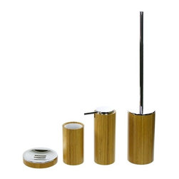 Gedy - 4 Piece Bathroom Accessory Set Made Of Bamboo - This bathroom accessory set is made of bamboo with a protective finishing.