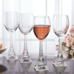 "Home Essentials - Vintage Eiffel Tower White Wine Glasses Set of 4 - A wine will best express its personality in a glass fine-tuned to its aroma and taste. This white wine glasses make excellent gifts for those fond of the Eiffel Tower or collectors of unique wine goblets.   * Set of 4 * Dishwasher Safe * Height: 9"" tall and 2.5 "" wide at the rim.  * Holds:10 oz"