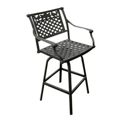 Princeton Cast Aluminum Swivel Bar Chair - The floral design on the Princeton Cast Aluminum Swivel Bar Chair brings nature to your outdoor dining area. This aluminum bar chair is ideal seating for a balcony or small patio.