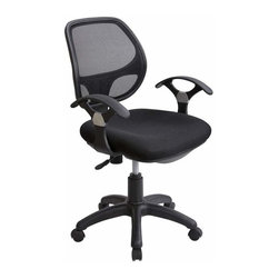Techni Mobili - Techni Mobili Mid-Back Mesh Task Chair in Black - Mid-Back Mesh Task Chair in Black by Techni Mobli The Techni Mobili Mid-Back Mesh Task Chair provides breathable mesh back support, a contoured mesh seat cushion, and contoured armrests in a sleek, contemporary design. The pneumatic height adjustment lever provides a 4.5 inch seat height adjustment range and the reclining back has a tension control knob. Dual wheel non-marking casters and a 5-star nylon base provide durable, stable mobility. COLOR: Black.  Office Chair (1)