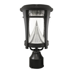 Gama Sonic - Gama Sonic GS-124FPW Aurora Solar LED 3 Mount Option Light - The Gama Sonic Aurora solar outdoor light fixture model GS-124FPW is the perfect energy-saving and money-saving replacement for electric or gas-powered outdoor lighting. This solar lantern with a modern design makes a stylish addition to your home's exterior. It includes all the hardware for three styles of mounting: as a wall sconce; on flat surfaces, such as pillars or columns, measuring at least four inches long and wide; or at the top of a three-inch-diameter lamp post. The Aurora's replaceable Lithium Ion battery pack charges when sunlight hits the fixture's integrated solar panel. At dusk, six bright-white LEDs will turn on automatically and shine at a brightness of 50 lumens for up to eight hours on a full solar charge. Gama Sonic's patented cone reflector enhances the glow of the Aurora's light. The monocrystalline silicon solar panel is protected by weather-resistant, cleanable tempered glass that helps ensure long-lasting reliability. The light's replaceable, plugged battery pack is good for about 1,000 charges.