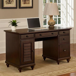 Home Styles - Home Styles Bermuda Espresso Pedestal Desk Dark Brown - 5542-18 - Shop for Desks from Hayneedle.com! The Home Styles Bermuda Espresso Pedestal Desk offers a tropical take on British colonial style including a storage door with a shutter-style front and round floral-themed drawer knobs finished in antiqued brass. This large computer desk holds an abundance of storage space for all of your home or office needs including a large file drawer three storage drawers and a computer tower storage area with a removable shelf. The center drawer front drops down to reveal a keyboard tray space. This beautifully designed desk is crafted to endure with genuine poplar solid construction and mahogany veneers finished in a handsome tropical espresso.About Home Styles?Home Styles is a manufacturer and distributor of RTA (ready to assemble) furniture perfectly suited to today's lifestyles. Blending attractive design with modern functionality their furniture collections span many styles from timeless traditional to cutting-edge contemporary. The great difference between Home Styles and many other RTA furniture manufacturers is that Home Styles pieces are crafted from solid wood and feature quality hardware that will stand up to years of use. When shopping for convenient durable items for the home look to Home Styles. You'll appreciate the value.
