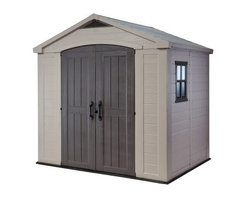 Keter 213039 Factor 8 x 6 ft. Storage Shed - With plenty of storage space and durable design, the Keter 213039 Factor 8 x 6 ft. Storage Shed is the perfect addition to your backyard. With a 113 cubic foot capacity and large, high-arched, double doors you'll have no problem you won't only have enough space, but it'll also be easy to get your larger items in and out, whether it's your grill, lawnmower, or Christmas lights. Reinforced with steel and crafted from strong and durable plastic with beautiful, wood-style panels and doors, this shed is weather resistant and UV protected so it won't rust, dent, or peel. Vented for air circulation, this shed is virtually maintenance free. It also has the ability to be locked if you so choose (lock not included). Strong and resilient, this storage shed will help you keep your home and yard clean and organized. Additional Features Exterior dimensions: 8.41W x 6D x 8H feet 113 cubic foot capacity Can be locked if needed Vented for air circulation Wide, double doors for easy entry and exit Doors are designed with a high-arch Warm beige and brown matches any decor Reinforced with steel Virtually maintenance free Clean with mild soap and water Easy to assemble About KeterFor over 60 years, Keter Plastic has proven its commitment to innovation, quality, and design by continually meeting changing needs and trends. Keter's product range reaches a consumer base across the world, focusing on outdoor furniture and storage with a commitment to the environment.