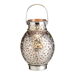 "Everybody's Ayurveda - Silver Star Patterned Candle Drum Lantern Iron Only - Silver Small Star Pattern Drum Candle Lantern. Iron. Made in India. 8"" Wide x 8"" Deep x 10"" Tall. Shiny silver finish with star pattern."