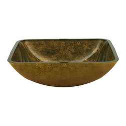 Yosemite Home Decor - Antique Gold Square Glass Basin - Golden square basin with luxurious dark flecks of color