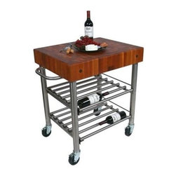 John Boos - Wine Cart w Cherry End Grain Top - Includes stainless steel towel bar and locking casters. Food service grade stainless steel base and double wine rack shelving system. Cherry end grain top. 24 in. L x 5 in. W x 30 in. H (125 lbs.)