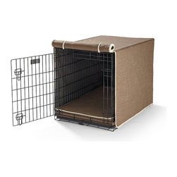 Frontgate - Crate Mattress and Crate Cover Set - Furniture-grade foam mattress insert. Extra layer of high-loft fiber for additional comfort. Mattress cover repels pet hair, dirt, bacteria and water. Roll-up door flaps on crate covers. Removable cushion covers and crate covers are machine washable. Turn your pet's plain metal crate into a restful retreat with our plush crate mattresses and covers. Made from soft, durable fabric that repels pet hair, dirt, bacteria and water, each mattress contains supportive furniture-grade foam that's topped with an extra layer of high-loft fiber for additional comfort. Crate covers feature door flaps that roll up and are held in place by string ties.. . . . .