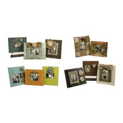Millman Photo Frames - Set of 12 - Eclectic, shabby chic style frames feature floral embellishments and burlap ribbons. The collection of twelve is an instant way to add charm to multiple areas of the home.