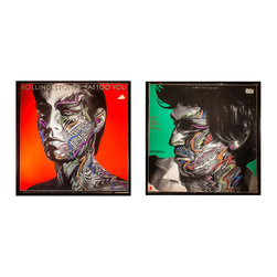 """Glittered Rolling Stones Tattoo You Two Piece Installation Album Covers - Glittered record album. Album is framed in a black 12x12"""" square frame with front and back cover and clips holding the record in place on the back. Album covers are original vintage covers. 2 piecces each 12x12"""