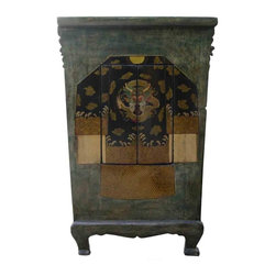 Golden Lotus - Tibetan Hand Painted Dragon Graphic Wooden Cabinet - This Tibetan cabinet is made of solid elm wood and hand painted with dragon graphic. There is a compartment separated by a removable panel for various storage uses.