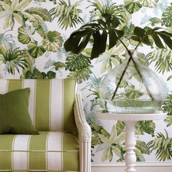 Stroheim Pacifica Wallpaper - Get the iconic Beverly Hills Hotel look with this tropical leaf wallpaper from Stroheim available at AmericanBlinds.com.