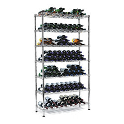 "Wine Enthusiast - 126 Bottle Steel Pantry Wine Rack - Beautiful steel baker style wine rack. Capacity varies from 126-160 bottles depending on the size and shape of the bottles stored. Simple assembly required. Strong, stable and ultra-sleek, our newest 7-shelf storage solution holds over 160 bottles. Born for pantry and kitchen, its quality constructed of heavy-duty chrome-plated steel for contemporary good looks and long lasting service. Dimensions: 65"" H x 35.5"" W x 14"" D, 126 bottles. 7-shelf storage solution. Kitchen pantry style design. Heavy-duty chrome-plated steel. Holds larger Burgundy style bottles"