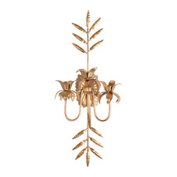 Saint Lucia Sconce - Beauty comes through on-trend metallic details with the Saint Lucia Sconce, a confection of floral taper holders guarded by expressive fronds of leaves that convey the triumph of a new spring and the gentle splendor of winter greenery with equally exquisite presence. A starburst wall plate is the glorious backdrop to these timeless botanical motifs.