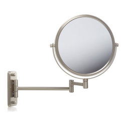 Jerdon JP7506N 8-Inch Two-Sided Swivel Wall Mount Mirror with 5x Magnification - The Jerdon JP7506N 8-Inch Two-Sided Swivel Wall Mount Mirror is used in luxury hotels and spas because of its convenience, sleek look and magnification. This two-sided circular mirror has an 8-inch diameter and features a smooth 360-degree swivel design that provides 1x and 5x magnification options to make sure every detail of your hair and makeup are in place. The extension arm and smooth rotation adjusts to all angles for a dynamic point of view. The JP7506N has a mounting block that measures 2-inches by 5-inches and extends 13.5-inches from the wall and can be easily moved around, while still being firm enough to hold for odd angles. This mirror has an attractive matte nickel finish that protects against moisture and condensation and is designed to be wall mounted. This item comes complete with mounting hardware. The Jerdon JP7506N 8-Inch Two-Sided Swivel Wall Mount Mirror comes with a 1-year limited warranty that protects against any defects due to faulty material or workmanship. The Jerdon Style company has earned a reputation for excellence in the beauty industry with its broad range of quality cosmetic mirrors (including vanity, lighted and wall mount mirrors), hair dryers and other styling appliances. Since 1977, the Jerdon brand has been a leading provider to the finest homes, hotels, resorts, cruise ships and spas worldwide. The company continues to build its position in the market by both improving its existing line with the latest technology, developing new products and expanding its offerings to meet the growing needs of its customers.