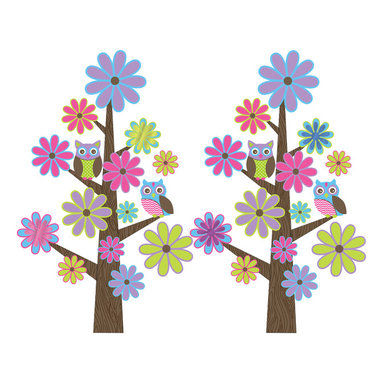 "WallPops - Spot The Owl Wall Decals - These fancy and fun wall stickers create 2  enchanted owl trees for your kids room! Mod flowers play peek-a-boo with friendly owls on these enchanted tree decal kits.  This wall art kit contains 44 pieces on four 9.75"" x 17.25"" sheets. WallPops are repositionable and always removable."