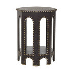 Safavieh - Nara End Table Charcoal - Inspired by the timeless, romantic feeling of gothic arches, the white Nara Side Stool offers a contemporary spin on classic style. Crafted with iron nail head detail, its six sides blend geometric form with a fresh, solid palette.