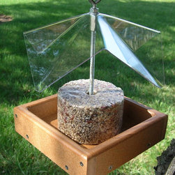 Songbird Essentials - Recycled Poly Yumbrella - Extra long, holds small seed cylinders up to 8 inch. Stainless steel hardware will not rust. Clear cover protects seeds and birds from weather. Recycled poly lumber tray is guaranteed not to crack, split or fade!