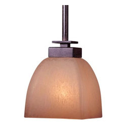 Minka-Lavery - Lineage Mini Drop Rod Pendant by Minka-Lavery - The Minka Lavery Lineage Mini Drop Rod Pendant leaves your guests in awe of your pristine interiors with its ardent antiquated frame and a tender uplifting glow. The Lineage Mini Drop Rod Pendant features Venetian Scavo glass shade and Iron Oxide finish.Minka-Lavery, recognized as a leader in modern elegance, offers decorative lighting with high quality craftsmanship in a variety of materials, including solid brass, wrought iron and cast aluminum. Located in Corona, CA, the Minka Group is branched into three providers that offer creative designs as well as timeless classics: Minka-Lavery lighting, Minka Aire fans and George Kovacs lighting.The Minka Lavery Lineage Mini Drop Rod Pendant is available with the following:Included Features:One Venetian Scavo glass shade.Iron Oxide finish.Ceiling canopy.UL Listed.Lighting: One 100 Watt 120 Volt Medium Base Incandescent lamp (not included).Shipping:This item usually ships in 48 hours.