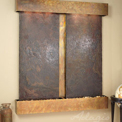 Slate Wall Mounted Water Features - The Cottonwood Falls with Rajah Slate - The Cottonwood Falls Wall Fountain with Slate Face is breath-taking with its dual panels of beautiful Slate. With two selections of Slate to choose from, there are several colors, styles, and looks you can achieve by simply selecting a different stone. This large water wall ships directly to your door, for free anywhere in the continental US. Installation is simple and each fountain arrives with a full installation DVD and set-up manual. The Cottonwood Falls with Slate face is perfect for anyone looking to add some serious style to their interior space. Available with round or square corners and rainforest green, rainforest brown or black spider Slate... and three finishes: Rustic Copper, Stainless Steel, or Antiqued Blackened Copper Finish.