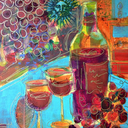 """Zinfandel - Original Wine Painting"" Artwork - ""Zinfandel"" is an original wine painting on canvas.  It measures 14""x11""x.75"" and is accented with collage elements as well as metallic gold pen line work.  The painting wraps around the sides of the stretcher bars and does not need to be framed.  A grouping of these wine paintings would look great in a kitchen, bar or den.  See my other listings for more selections."