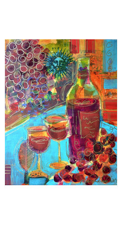 "Zinfandel - Original Wine Painting, Original, Painting - ""Zinfandel"" is an original wine painting on canvas.  It measures 14""x11""x.75"" and is accented with collage elements as well as metallic gold pen line work.  The painting wraps around the sides of the stretcher bars and does not need to be framed.  A grouping of these wine paintings would look great in a kitchen, bar or den.  See my other listings for more selections."