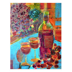 """Zinfandel - Original Wine Painting, Original, Painting - """"Zinfandel"""" is an original wine painting on canvas.  It measures 14""""x11""""x.75"""" and is accented with collage elements as well as metallic gold pen line work.  The painting wraps around the sides of the stretcher bars and does not need to be framed.  A grouping of these wine paintings would look great in a kitchen, bar or den.  See my other listings for more selections."""