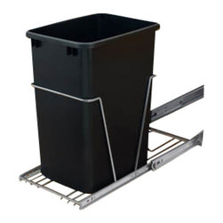 "Rev-A-Shelf - Rev-A-Shelf RV-12KD-18C S Single 35 Qt. Pullout Waste Container - Black - The Single 35 Quart Pullout Waste Container in Black is one of the most popular and cost effective pullout waste units on the market. The Rev-A-Shelf RV-12KD-18C S includes (1) 35 quart black colored polymer waste container, 100lb rated full-extension chrome ball-bearing slides, a removable handle, a rear basket that is perfect for storing garbage bags, and hardware and instructions. Additionally, assembly and installation are extremely easy. After a quick assembly, the bottom mount installation takes just four screws to complete! Physical specifications: 10-5/8"" W x 22"" D x 19-1/4"" H. Please make sure you have a minimum cabinet opening of at least 10-3/4"" W x 22-1/8"" D x 20"" H to ensure a proper fit."