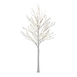 Lightshare - Lightshare BirchTree: 10 Icicle Twinkling Light, Warm White, 8ft 132 lights - You will get a free gift with this purchase which is 10 LED Icicle Twinkling (white/Blue) Decoration Light, 6.5ft length, with 3AA battery operated, which is packed in a nice color box together with the snow tree package.