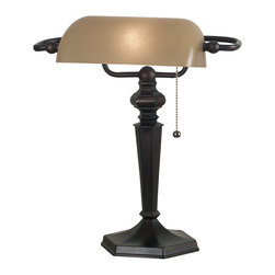Kenroy - Kenroy 20610ORB Chesapeake Banker Lamp - Mackinley and Chesapeake are welcome additions to chair or bedside.  These traditional families call back to colonial times with an ornate candlestick profile.  Substantial and solid, the swing arm versions are excellent reading lamps.
