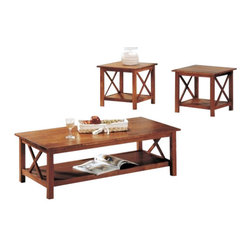 "Coaster - 3Pc Occasional Set (Medium Brown) By Coaster - This lovely occasional table set includes a coffee table and two end tables. The simple and stylish tables will help you quickly transform your casual living room into a warm and inviting space where friends and family can relax. The rectangular cocktail table features a smooth top with straight edges, and sleek square legs. An ""X"" motif on each side creates a fresh look, with a spacious lower shelf that is ideal for coffee table books and magazines. The two matching end tables have square tops, and repeat the same ""X"" motif below, with another lower shelf on each table for decorative items. Available in a warm medium Brown and deep Cappuccino finish, these three pack table sets are sure to complete your casual contemporary living room ensemble. The Briarcliff collection offers a complete style update for your casual contemporary living room. This group includes a convenient three piece occasional table set, including a coffee table and two end tables, and a sofa table to complete the ensemble. Clean lines, straight square legs, and a fresh ""X"" motif on each table's sides create a simple but stylish look that will blend easily with your decor. Available in a warm medium Brown finish and deep Cappuccino finish, these tables are sure to complement your decor. Features: Brown Finish Wood construction Wood top Storage shelf Specifications: Coffee Table: 47""W x 23""D x 16""H End Table: 22""W x 22""D x 21""H"