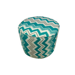 "Lava - Zig Zag Teal Pouf - 12"" Tall x 17"" Round (Indoor/Outdoor) - 100% polyester cover, 100% polyestyrene bead fill. Suitable for use indoors or out. Made in USA. Spot clean only."