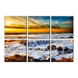 Vibrant Canvas Prints - Canvas Art Prints, Framed Huge Canvas Print 5 Panel Sunset Sea Beachand - This is a beautiful, 100% quality cotton canvas print. This print is perfect for any home or office, and will make any room shine with its addition of color and beauty.  - Free Shipping - Modern Home and Office Interior Decor   Beach Canvas Designs - 6 Panel Print   Sea Beach Wave Print on Canvas - Wall Art - 30 Day Money Back Guarantee.