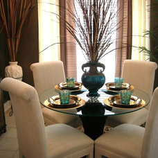 Contemporary Dining Room Teal Accents in Dining Room